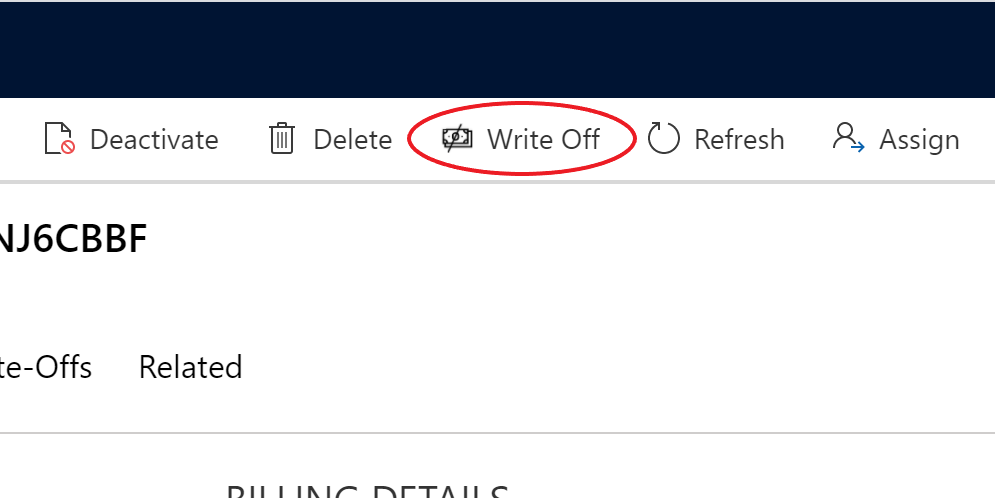Write-Off Button - Command Bar